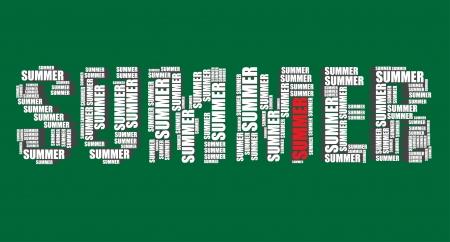 summer's: summer typography 3d text word summer art  Illustration