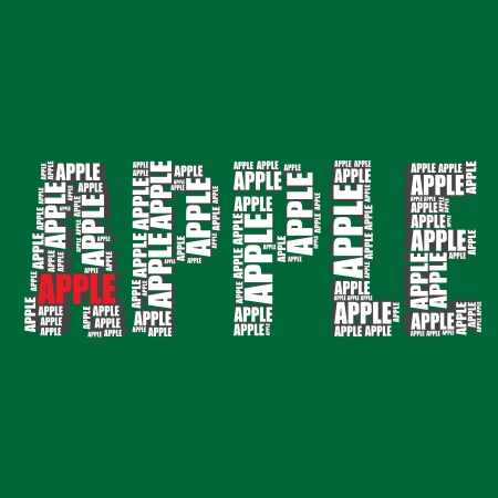 apple typography 3d text word apple art Vector