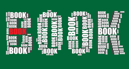 book typography 3d text word book art illustration word cloud Vector
