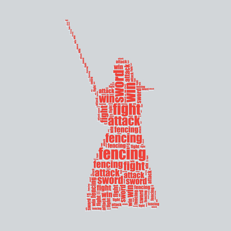 fencing typography 3d text word art fencing vector illustration word cloud  Vector