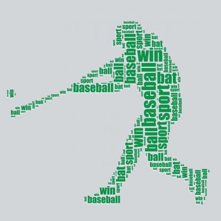 word art: baseball typography 3d text word art baseball vector illustration word cloud