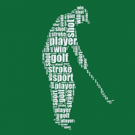 golf typography 3d text word art golf vector illustration word cloud  Vector