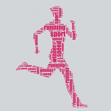 running typography 3d text word art running vector illustration word cloud  Illustration