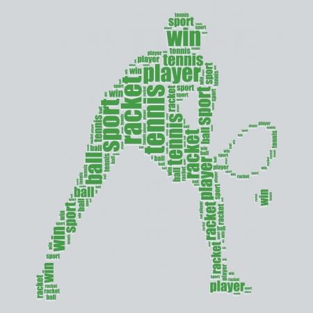 tennis typography 3d text word art tennis vector illustration word cloud  Vector