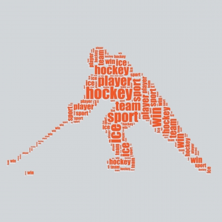 hockey typography 3d text word art hockey vector illustration word cloud  Vector