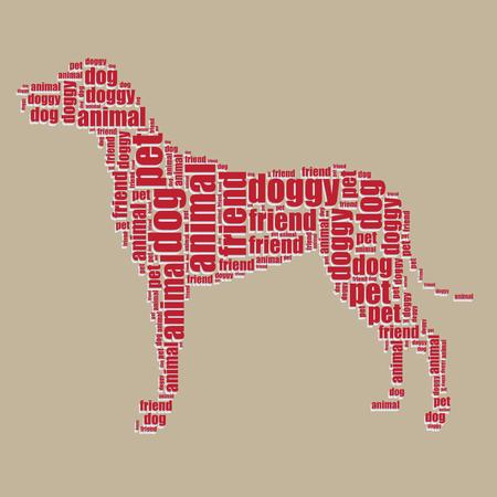 dog typography 3d text word art dog vector illustration word cloud  Vector