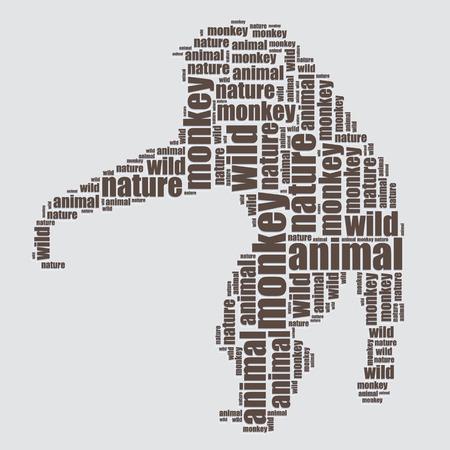 word art: monkey typography 3d text word art monkey vector illustration word cloud