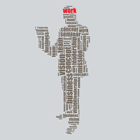 work typography 3d text word art work vector illustration word cloud