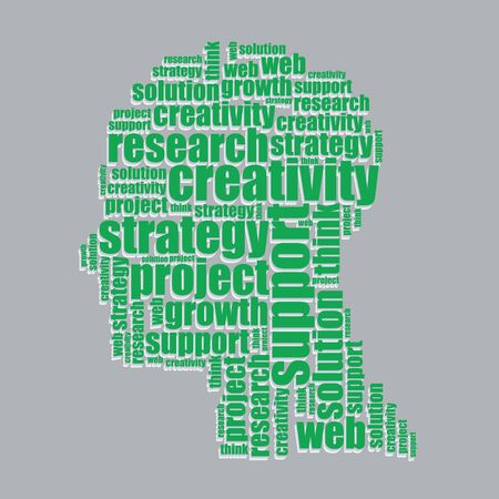 research typography 3d text word art research vector illustration word cloud  Vector