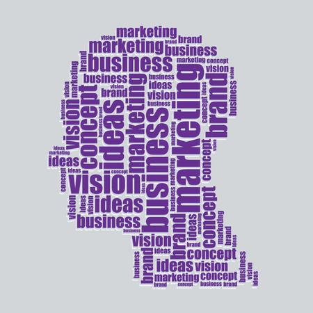 word art: marketing typography 3d text word art marketing vector illustration word cloud  Illustration