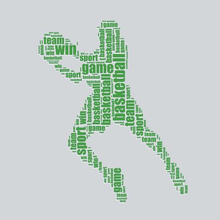 basketball typography 3d text word art basketball vector illustration word cloud  Vector