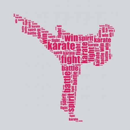 word art: karate typography 3d text word art karate vector illustration word cloud