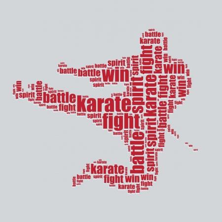 word art: karate tipograf�a texto 3d arte de la palabra karate ilustraci�n nube de palabras Vectores