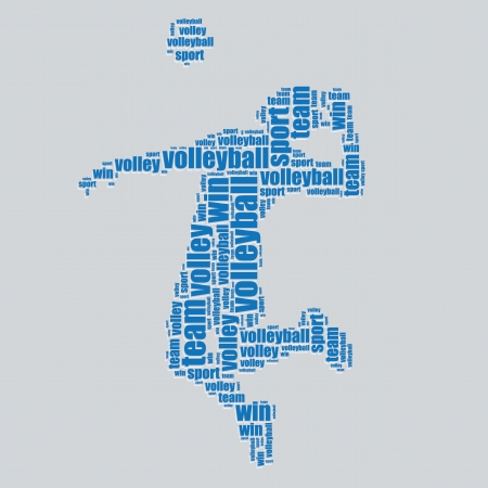 word art: volleyball typography 3d text word art volleyball vector illustration word cloud  Illustration
