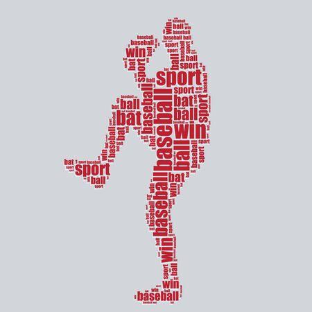word art: b�isbol tipograf�a texto 3d arte de la palabra b�isbol ilustraci�n nube de palabras Vectores