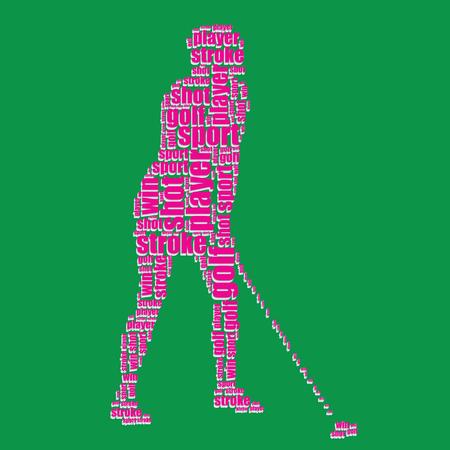 word art: golf typography 3d text word art golf vector illustration word cloud  Illustration