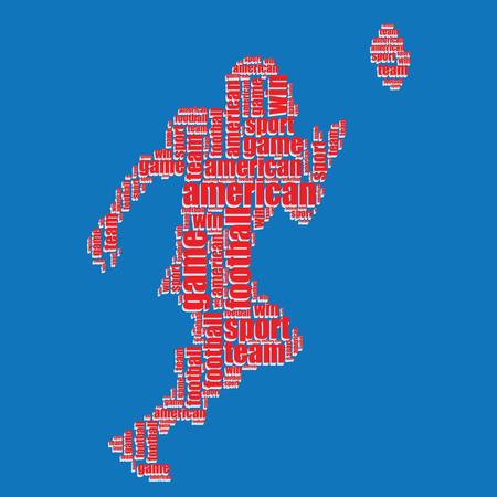 word art: american football typography 3d american football text word art vector illustration word cloud  Illustration