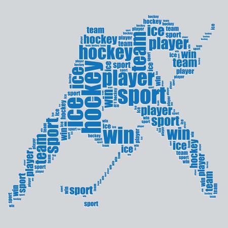 hockey tipografía texto 3d arte de la palabra del hockey ilustración nube de palabras Ilustración de vector