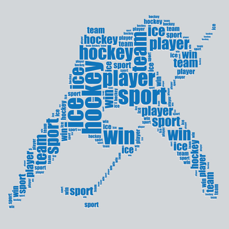 mot: Hockey typographie 3d text word art de hockey illustration vectorielle nuage de mots