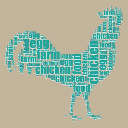 chicken typography 3d text word art chicken vector illustration word cloud  Vector