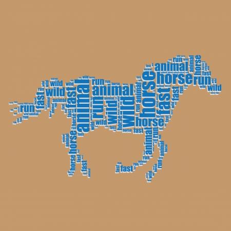 word art: horse typography 3d text word art horse vector illustration word cloud