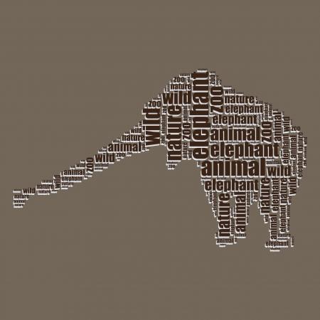 word art: elefante tipograf�a 3d texto de la palabra arte del elefante ilustraci�n nube de palabras