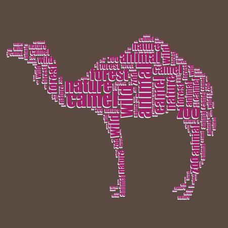 word art: camel typography 3d text word art camel vector illustration word cloud