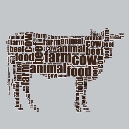 word art: vaca tipograf�a texto 3d arte de la palabra vaca ilustraci�n nube de palabras