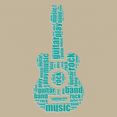 guitar typography 3d text word art guitar vector illustration word cloud  Vector