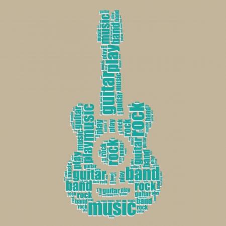 guitar typography 3d text word art guitar vector illustration word cloud  Vector