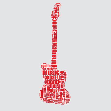 word art: guitarra tipograf�a 3d texto word art guitarra ilustraci�n nube de palabras