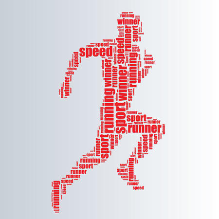 word art: running typography 3d text word art running vector illustration word cloud  Illustration