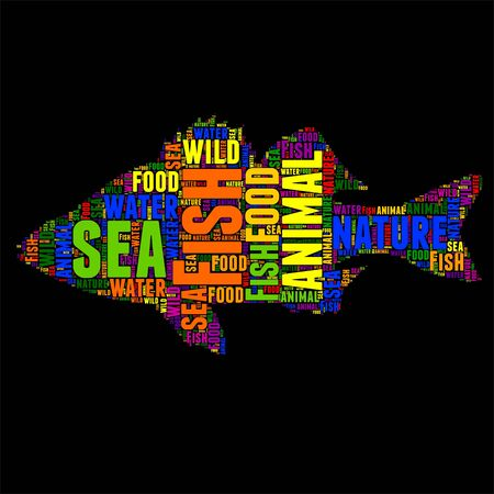 fish type: Typography word cloud colorful in Silhouette
