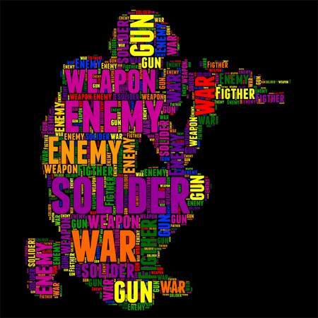solider: Typography word cloud colorful in Silhouette