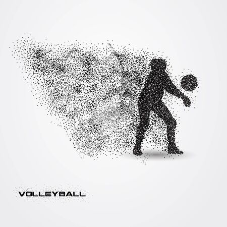 Volleyball player of a silhouette from particle.