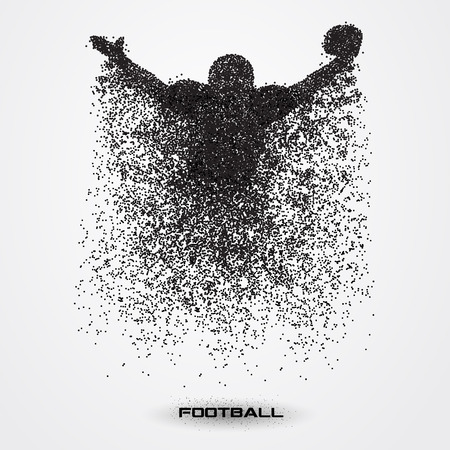 nfl helmet: football player of a silhouette from particle.