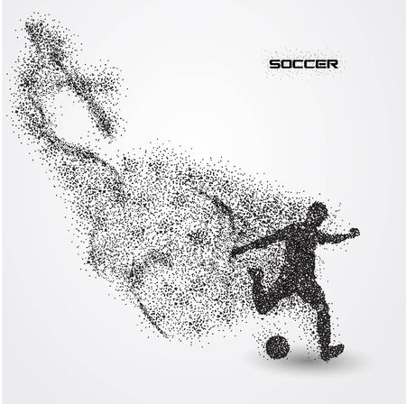 soccer football player of a silhouette from particle