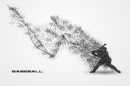 baseball player of a silhouette from particle.