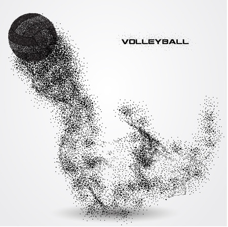 Volleyball ball of a silhouette from particle.
