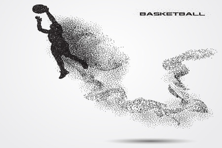 Basketball player  of a silhouette from particle. Imagens