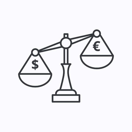 Justice scales with currency exchange sign. Flat style black icon on white. Illusztráció
