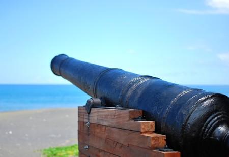 canon at beach on la reunion island