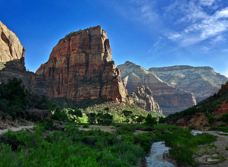 view on angels landing mountain in zion national park, utah usa