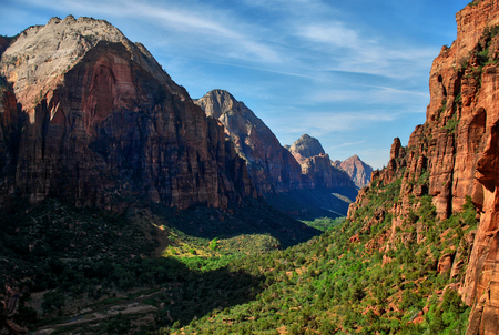 canyon of zion national park view from hiking trail to angels landing summit, utah usa Imagens