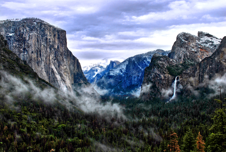 tunnel view in yosemite national park with bridalveil fall and el capitan, california usa