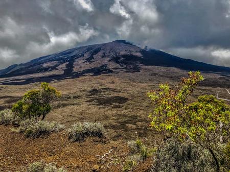 lava in valley of piton de la fournaise volcano on la reunion