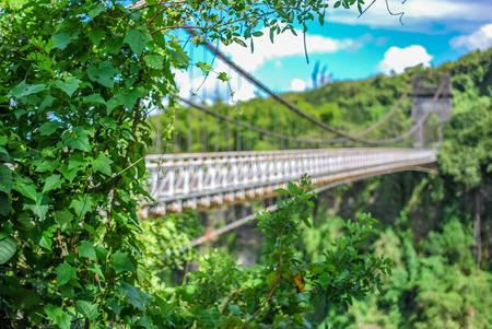 suspended bridge on la reunion island Banco de Imagens
