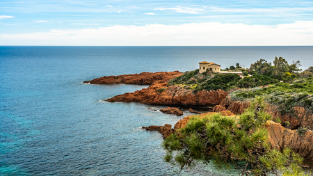 red rocks coast and sea at the French Riviera in Cote d Azur near Cannes, Provence, France