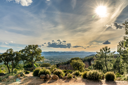 panoramic view on valley of roquebrune sure agens and frejus with cote d'azur, france