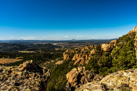 panoramic view on trail to red rocks of roquebrune sur argens, france